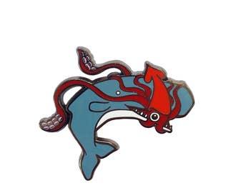 Squid and Whale Enamel Pin -  ocean enamel pin - whale enamel Pin - squid  pin