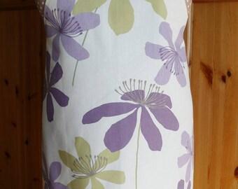 full length apron - lilac/green flowers print