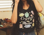 Boho Crystal Mama Tee | 2 Colors | Bohemian Vintage Inspired Gemstone Women's T-Shirt | Black - Oatmeal White