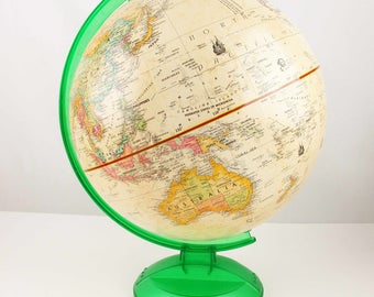 """A 12"""" 'Globemaster' Globe With Green Plastic Stand From Replogle Globes, Inc. - Chicago, Illinois - Includes Legend and Explorers"""