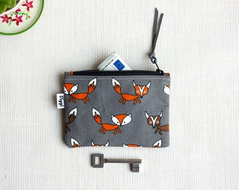 Small Foxes Womens Wallet, Fox Coin Purse, Woman Card Pouch, Small Change Bag, Little Gift for Her