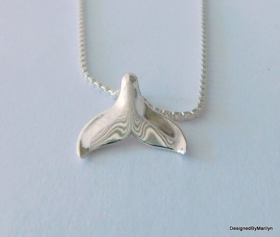 Sterling silver whale tail necklace, ocean jewelry, sea life jewelry, sterling silver necklace