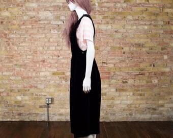 velvet jumper dress / midi jumper dress / black velvet dress / minimalist / romantic / goth jumper / pleated jumper dress / velvet pinafore
