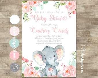 Girl Elephant Baby Shower Invitation, Safari Baby Shower Invitation, Girl Elephant  Invitation, Jungle