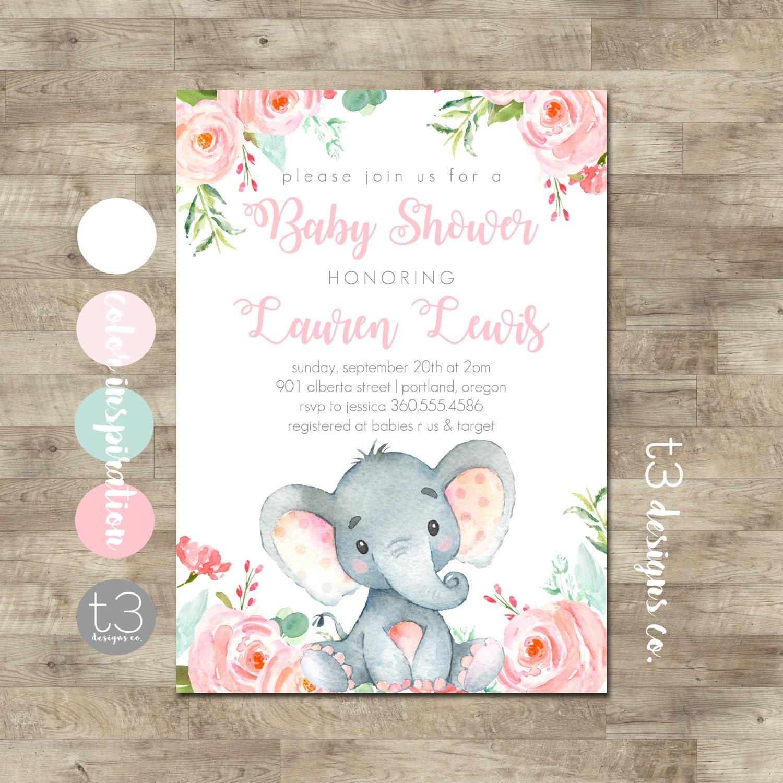 Girl Elephant Baby Shower Invitation Safari baby shower