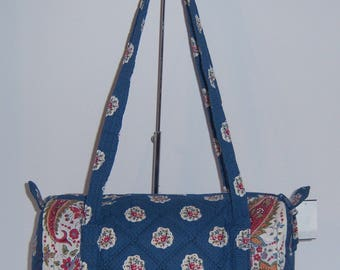 Vintage Pierre Deux Souleiado La Provencal Blue Red White Print Quilted Small Duffle Barrel Bag Purse NOS Deadstock NWT