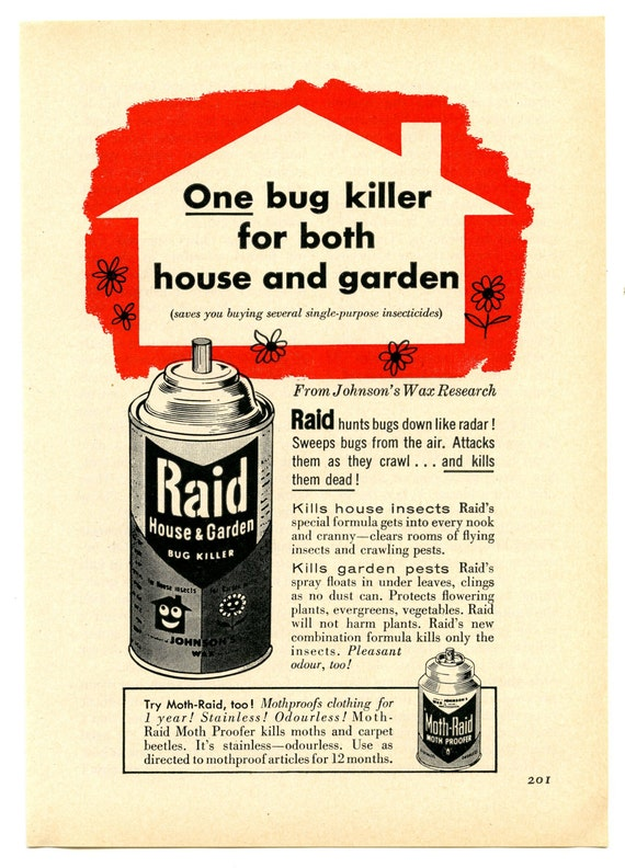 1957 Raid House And Garden Bug Killer Vintage Magazine Print Advertisement From