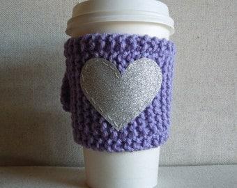 Lavender Coffee Cozy with Silver Glitter Heart, Mug Sweater, Coffee Cozy, Coffee Sleeve, Mug Cozy