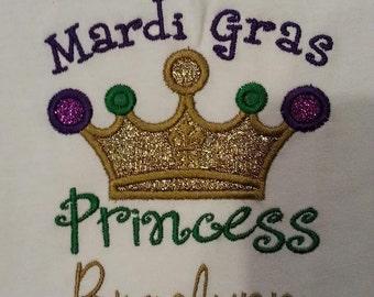 Mardi Gras Princess Embroidered Applique Shirt - Girls Mardi Gras Shirt - Mardi Gras Princess
