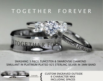 doctor who inspired 3 piece 8mm tungsten concave sterling silver 18 carat brilliant swarovski diamond cz - Dr Who Wedding Ring
