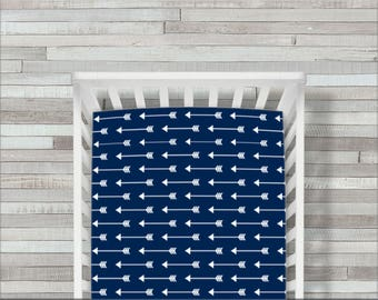 Crib Sheet, Fitted, Crib Bedding, Arrows, Woodland, Navy, Nursery, Toddler Bedding, Baby Bedding