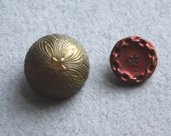 Antique Metal Buttons with Star Motifs, Circa 1800s
