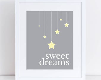 Sweet Dreams Nursery Art, Printable Nursery Art, Star Art Print, Kids Room Decor, Wall Poster, Digital Download, Kids Room Art, Grey Art