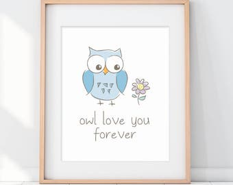 Owl Kids Decor, Owl Nursery Decor, Owl Art Print, Owl Love You Forever, Blue Nursery Decor, Blue Kids Poster, Owl Baby Shower, Kids Poster