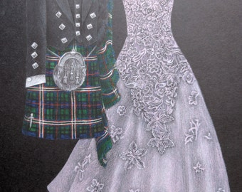 """11""""x14"""" Dress and Tux Drawing"""