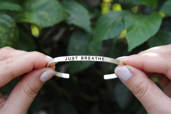 Just breathe. Breathe jewelry. Yoga Jewelry. Quote jewelry. Thin cuff bracelet. Just breathe bracelet. gift for her.