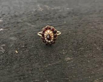 Antique Garnet & Pearl Stacking or Midi Ring @CELESTEANDCOGEMS