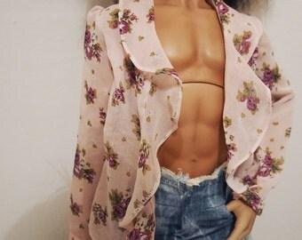 BJD- Floral chiffon open shirt for SD