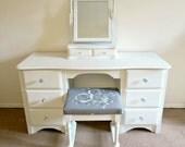 Upcycled Dressing Table, Bedroom Furniture, White Vanity, Bedroom Set, White Home Decor, Shabby Chic Dressing Table, Painted Furniture