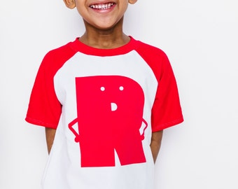 Classic Collection Red Alphabet Raglan | CHOOSE Your Letter A-Z