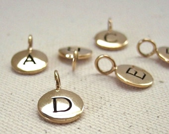 Golden Bronze Stamped Initial Charm Personalized Monogram Disc - Your Choice of Letter