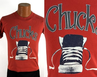 Vintage 80s Chucks - Converse Chuck Taylor All Stars T-Shirt MEDIUM (SMALL) // Sneakers // 1980s // USA Made // Cotton // Red // Throwback