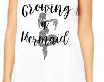 Growing a Mermaid, Pregnant Mermaid Tank, Pregnant Shirt, Hoping for a mermaid, Mermaid baby, Pregnancy Top, it's a girl, team girl