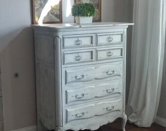 SOLD TO ELIZABETH - Farmhouse/Rustic Cottage White Tall Boy Dresser - Romantic French Dresser
