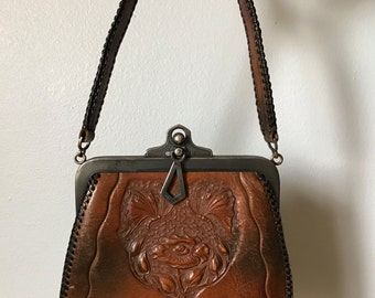 Antique 1900s leather purse | hand tooled leather bag