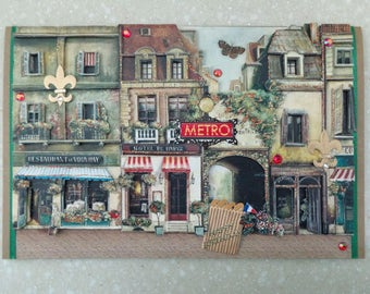 OOAK Large 3D *Paris Forever* Handmade Birthday Card by Christine with matching envelope and gift tag