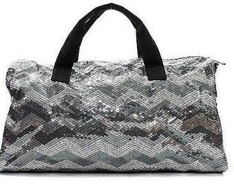 Gray Chevron Sequined Duffel Bag Dance Cheer