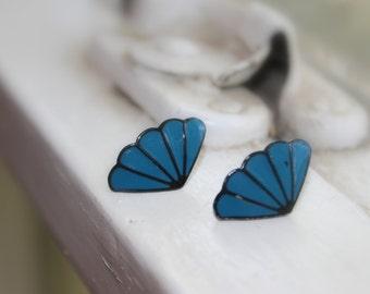 Vintage Enamel Fan Shaped Pierced Earrings