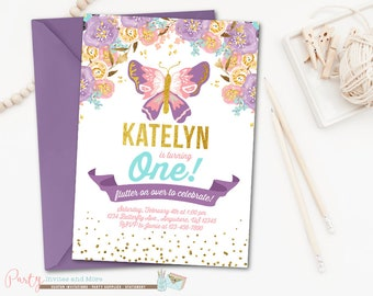 Butterfly Invitation, Butterfly Birthday Invitation, Garden Party Invitation, Garden Party Birthday Invitation, Watercolor