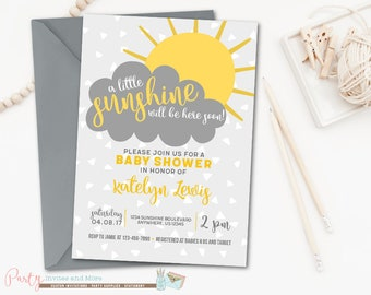 Sunshine Baby Shower Invitation, Sunshine Invitation, Yellow and Gray Invitation, Yellow and Grey Invitation, Yellow and Gray Baby Shower