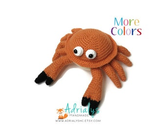 Crochet Crab- Stuffed Crab- Crab Plush- Crustacean Plush- Toys- Handmade Crab- Crochet Toy- Made to Order