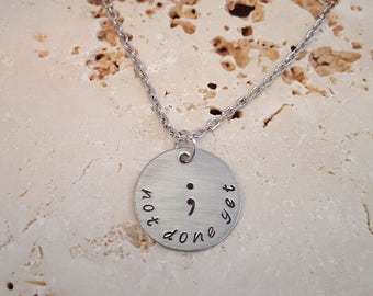 Not Done Yet Semicolon Necklace Stainless Steel Brushed