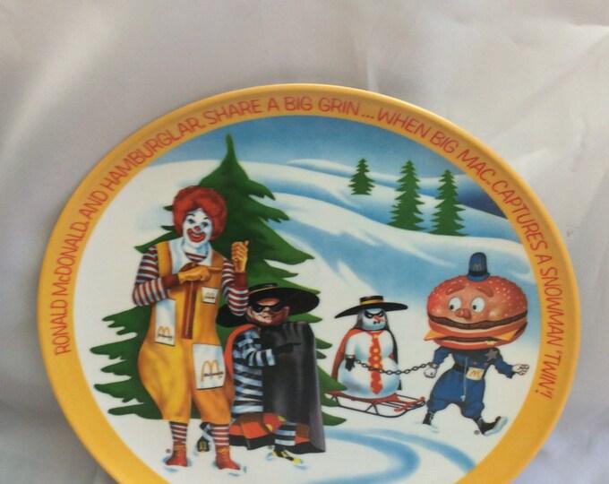 McDonald's vintage plate from 1977, Ronald McDonald, Hamburglar, Big Mac plate, vintage McDonalds plastic plate, vintage McDonalds