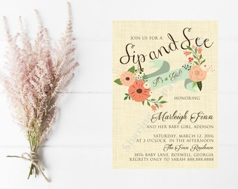 Sip and See Invitation Girl - Sip and See Invitation - Sip and See Invite - Floral Baby Shower Invitation - Baby Shower Ideas