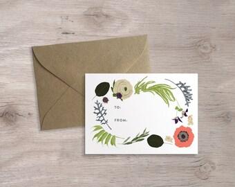 12 Floral Enclosure Cards, Boxed Set