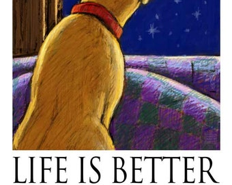 Life is Better When You're Here - Greeting Card with Yellow Lab Looking Out Window