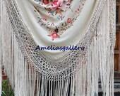 Hand embroidered wedding evening wrap spanish silk flamenco piano shawl, mantones
