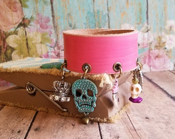 ChArM Bracelet Leather Cuff> Hand Made Leather Jewelry/ Charm Bracelet/ Sugar Skull/ Turquoise & Pink/ Day Of The Dead/ Muertos/ Boho