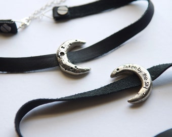 Stevie Nicks Rhiannon Crescent Moon Choker Pendant Eclipse Textured Twilight Waxing Waning Moon