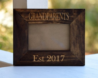 Grandparents Established Frame, Ultrasound Frame, Pregnancy Announcement, Custom Engraved Picture Frame, Personalized Gift, Wood Frame