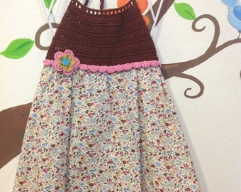 cotton flower dress with crochet bodice and details
