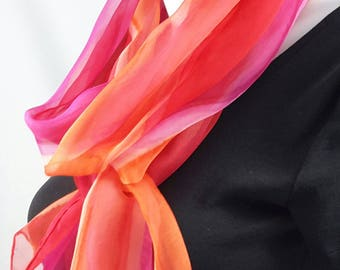 Silk scarf long hand painted chiffon orange red fuchsia pink
