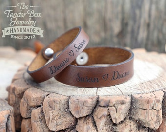 Personalized set of His and Hers leather bracelets couples bracelets set of two engraved leather cuffs couples gift