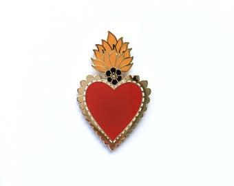 Mexican Sacred Heart Enamel Pin Lapel Pin Badge - Gold w/Red Heart, Orange Flames & Black Flower Hard Enamel