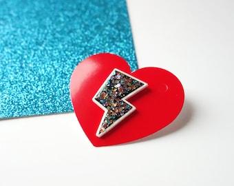 Lightening bolt pin, lightening bolt brooch, lightening bolt badge, lightening bolt  jewellery