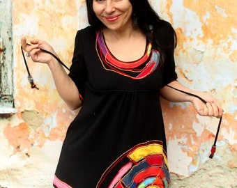 M Coloful spiral appliqued recycled dress tunic top